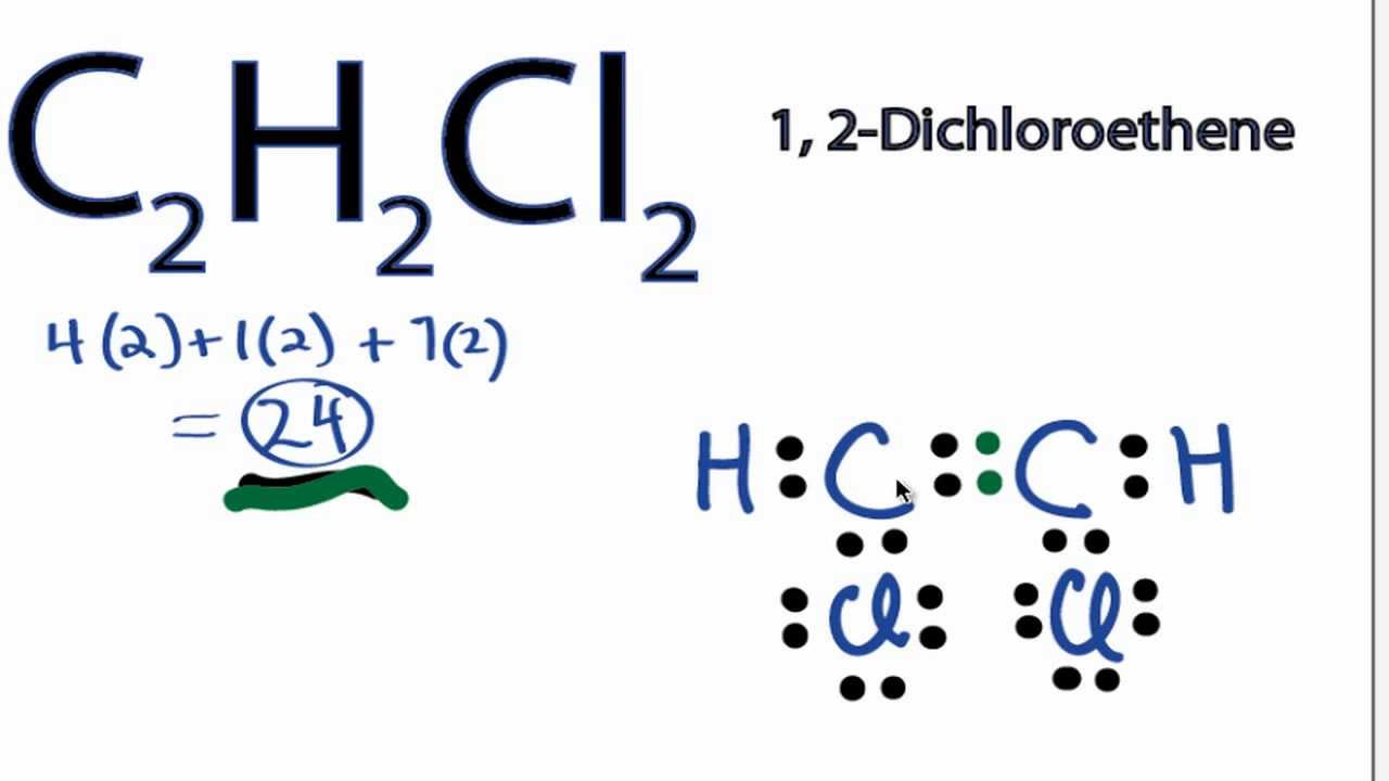 medium resolution of c2h2cl2 lewis structure how to draw the electron dot structure for c2h2cl2