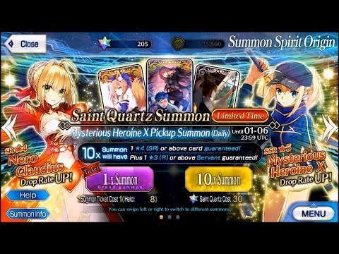 Fate Grand Order | Saber Wars Summoning for Mysterious Heroine X & Nero!