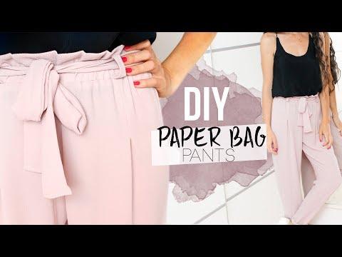 DIY PAPER BAG PANTS | Cómo hacer un pantalón con lazo en la cintura 🎀