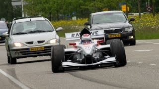 Jos Verstappen - FA1 race car - On the road in Lelystad traffic!