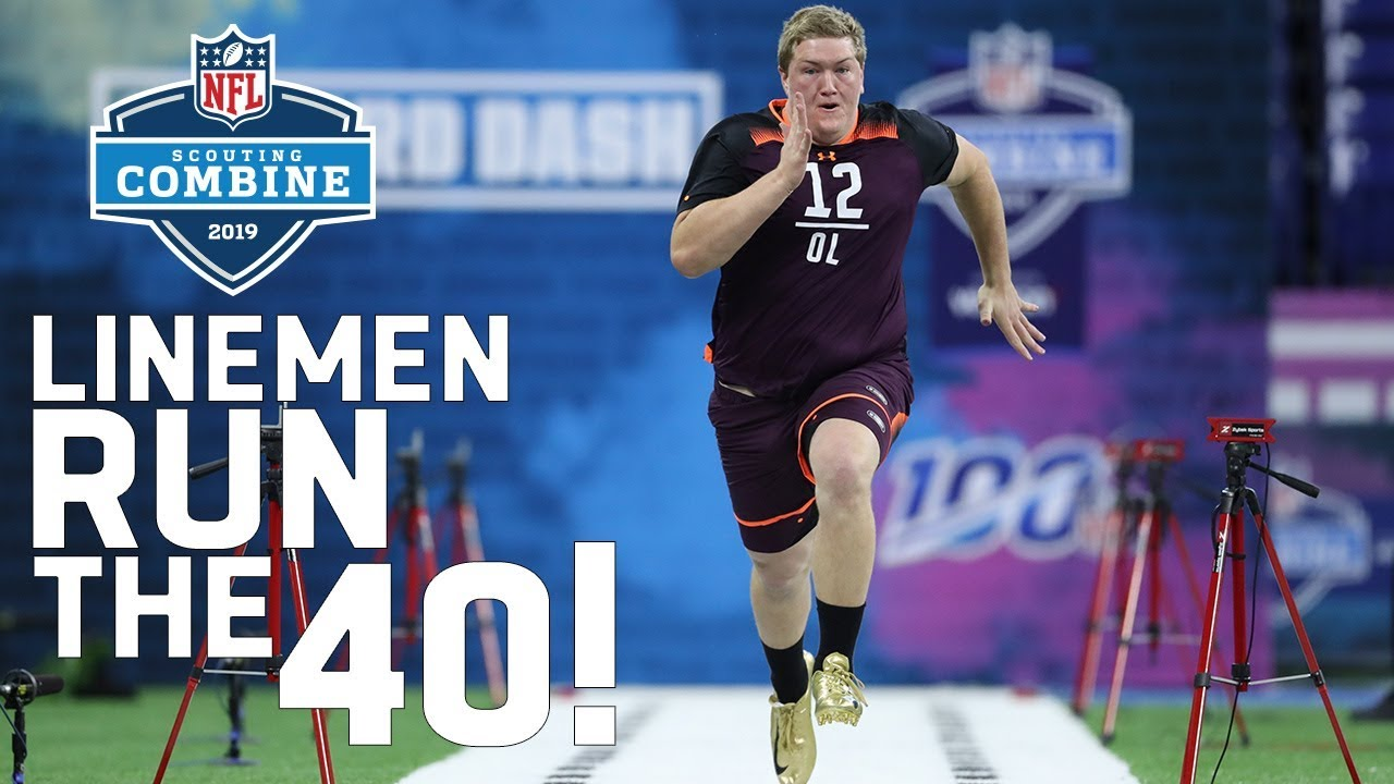 Offensive Linemen Run The 40 Yard Dash 2019 Nfl Combine Highlights Youtube