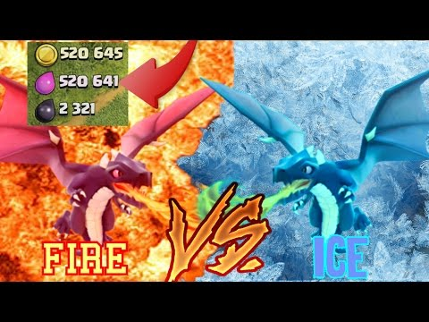 Clash of Clans   Fire Vs Ice #2   Dragon And Freeze Attack + MILLION LOOT RAID!