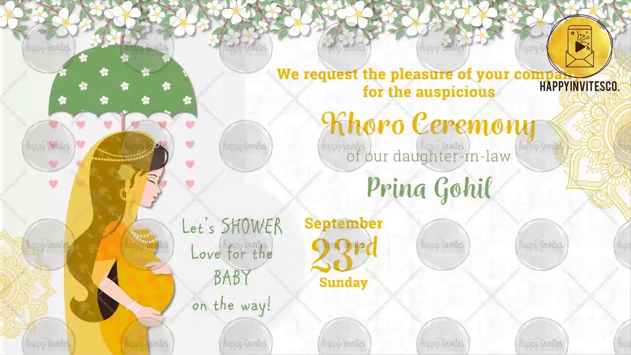 Pa01b Indian Baby Shower Invitation Video