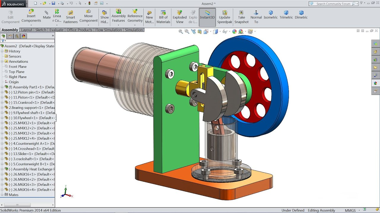 Solidworks tutorial   Sketch Stirling Engine in Solidworks