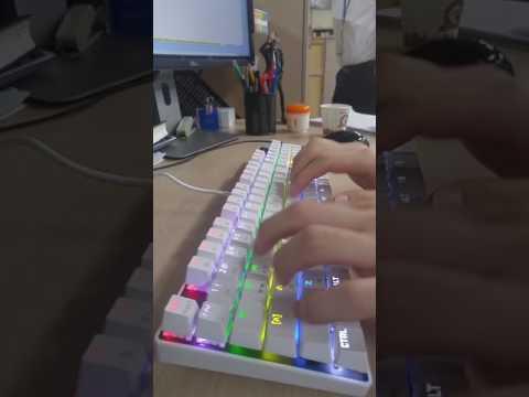 한성컴퓨터 기계식 키보드 GTune MKF14S 화이트 갈축 타건
