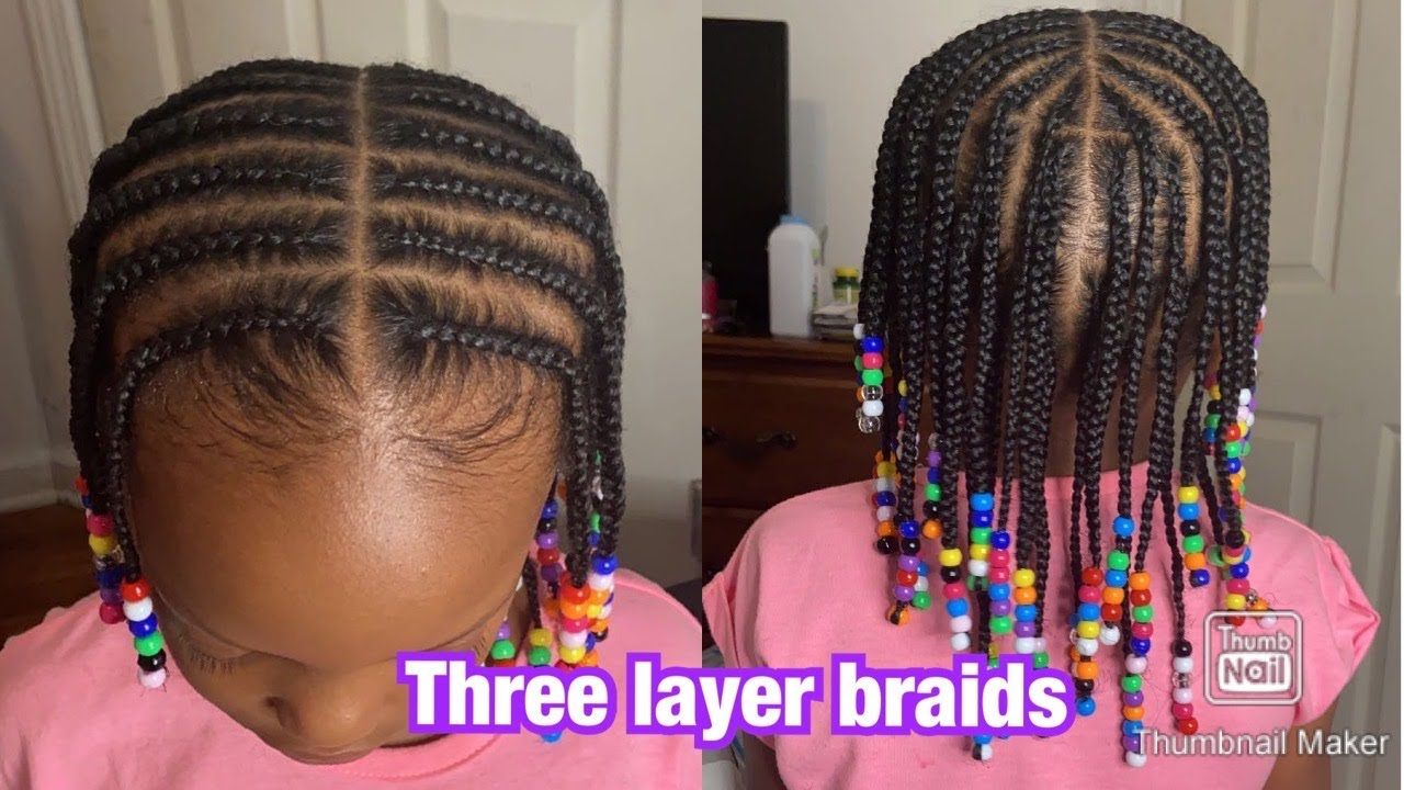 3 LAYER FEED IN BRAIDS MIDDLE PART ON LITTLE GIRL ...
