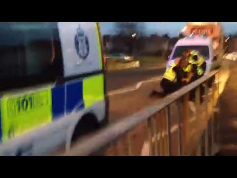 Police Scotland - arresting man on road