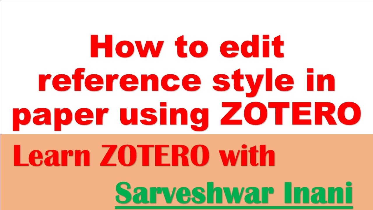 how to change reference style in zotero