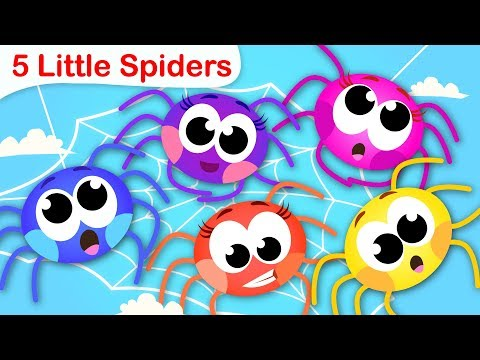 5 Little Spiders | Learn to Count from 1 to 5 with Itsy Bitsy Spider| Nursery Rhymes by Little Angel