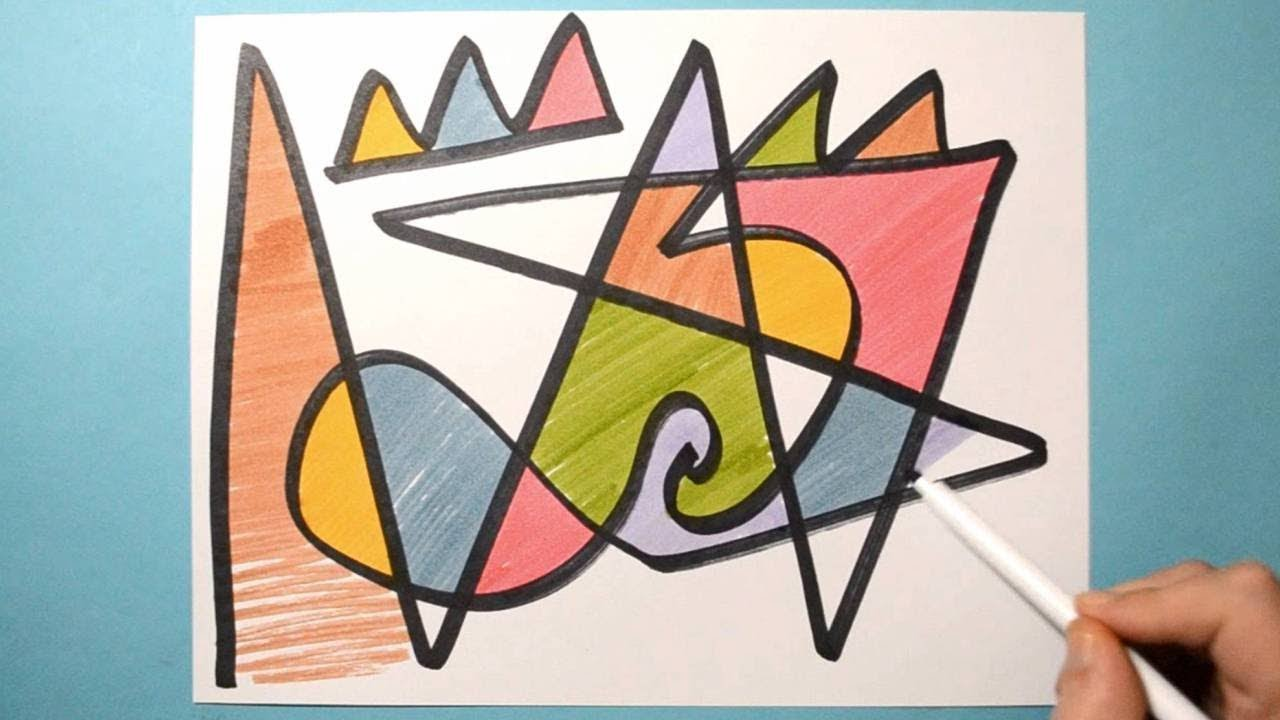 Easy Abstract Drawing Fun Doodle With Color Markers Daily Abstract Art Day 07 Youtube