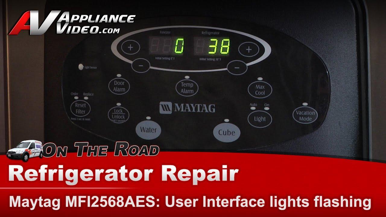 refrigerator not cooling user interface display lights flashing maytag whirlpool kitchenaid youtube [ 1920 x 1080 Pixel ]