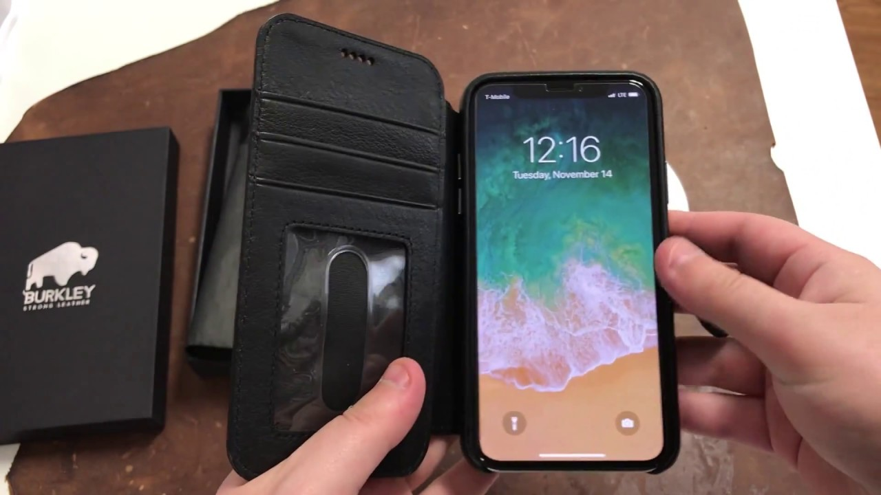info for 3ac65 b3f08 Burkley Case Leather Wallet Folio Case for Apple iPhone X/XS   Black