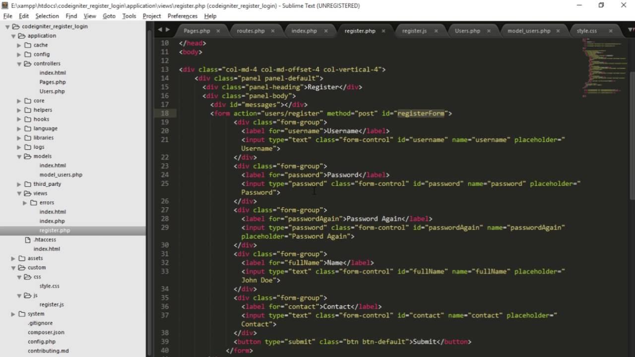 Codeigniter Tutorial - Register & Login Part 5 Register (3/3 ...
