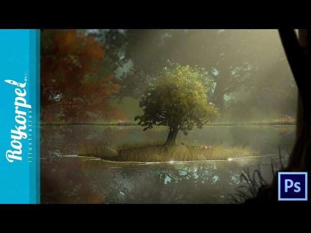 Tree brush Practice tutorial - Photoshop speedart - time-lapse - how-to