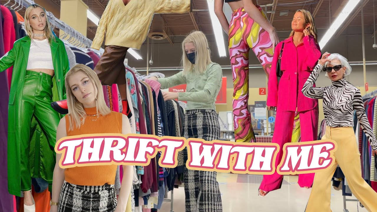 thrift with me for some BRIGHT trendy 2021 outfits // thrifting clothes out of my comfort zone