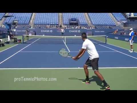 Tomic v Kyrgios, 2016 US Open practice 4K