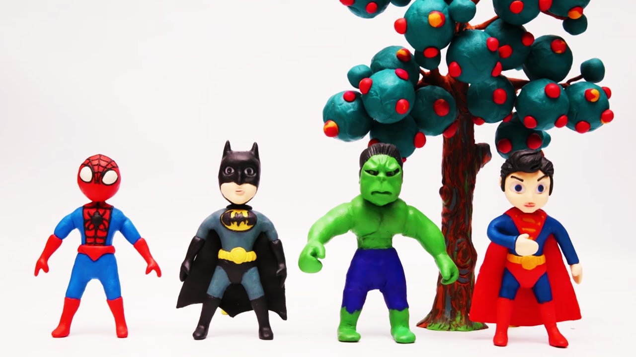 Spiderman Batman Superman Y Hulk Juegan A Esconderse Y Bailar Play Doh Stop Motion Para Niños