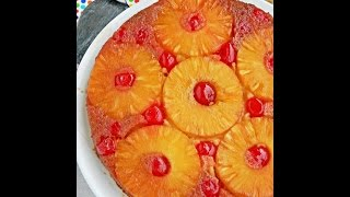 Eggless Pineapple Upside Down Cake Recipe With Condensed Milk