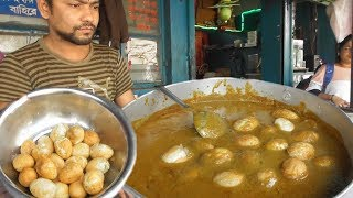 It;s a Breakfast Time in Beside Indian Rail Station - Tasty Kachori & Egg Curry