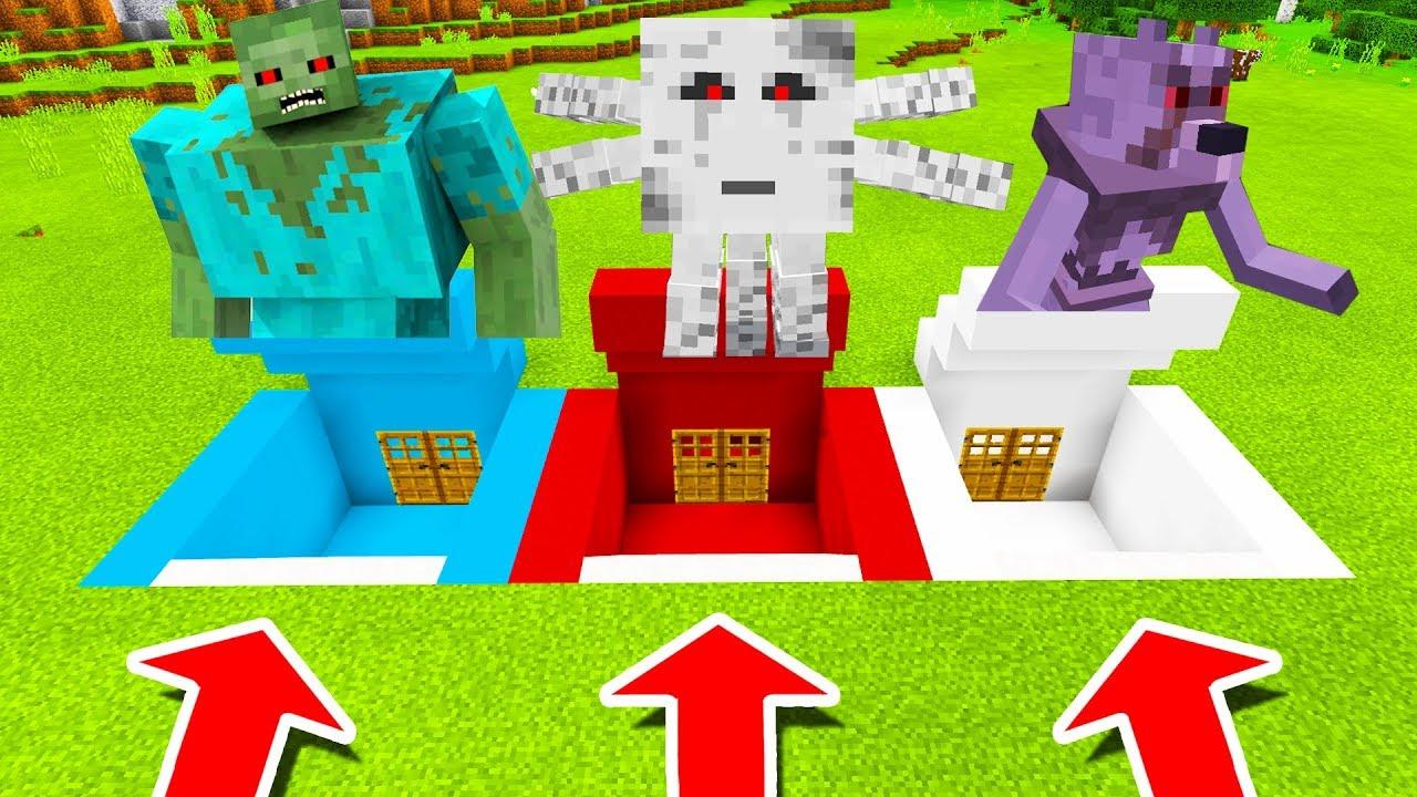 Minecraft PE : DO NOT CHOOSE THE WRONG SECRET BASE! (Mutant Zombie, Mutant Ghast & Mutant Wolf)