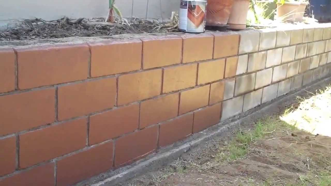 Deckover concrete block wall before and after comparison - Concrete block painting ideas ...
