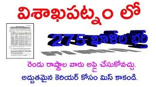 visakhapatnam latest 275 vacancy latest update in telugu 2019, AP and TS latest Update in telugu