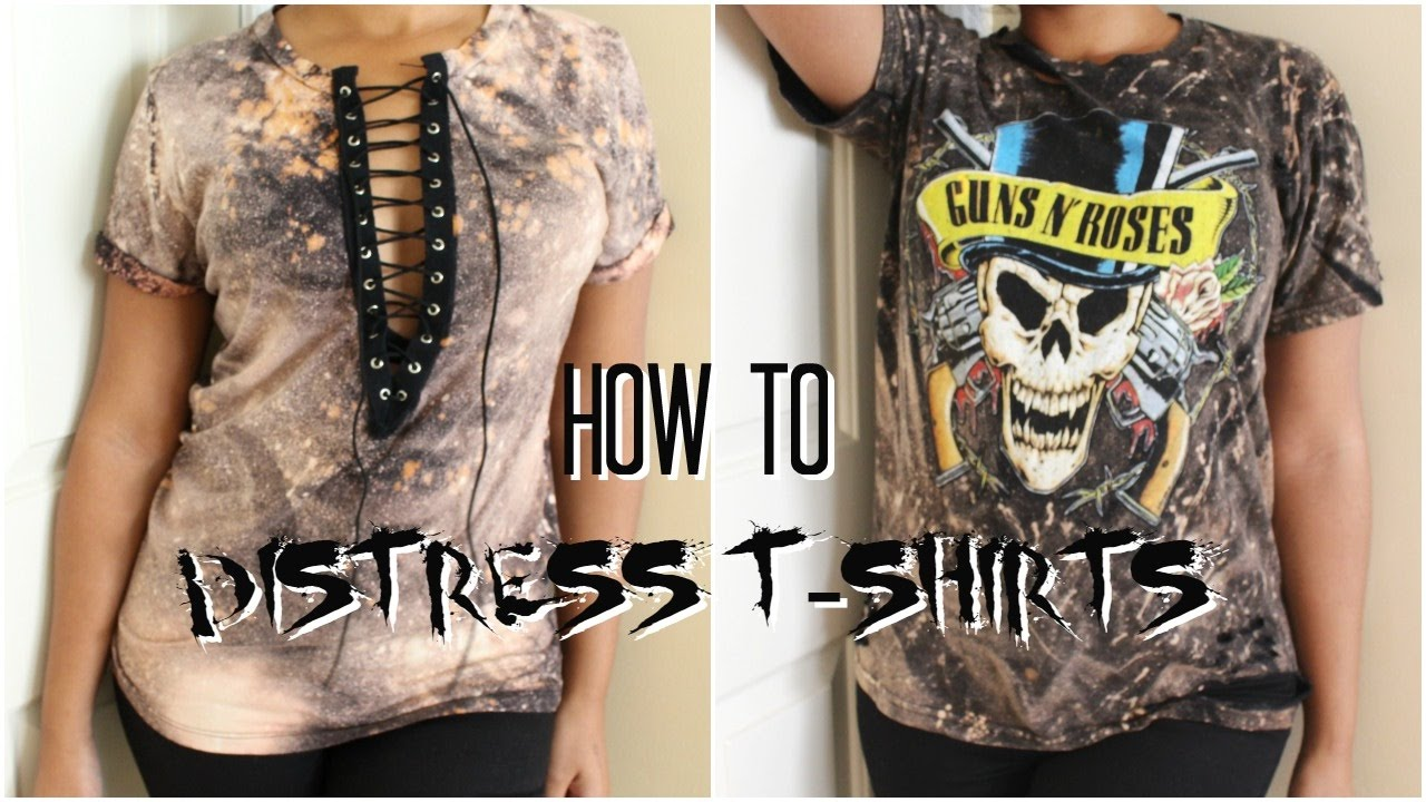 How to distress t shirts diy bleached t shirt youtube for How to make a distressed shirt