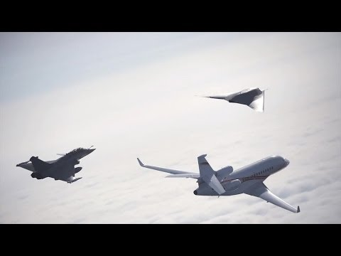 Dassault Aviation - Neuron UCAV, Rafale Fighter & Falcon 7X Business Jet Formation Flight [720p]