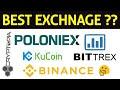 BiNance vs BiTtrex vs PoLoniex vs kuCoin vs CrypTopia vs HitBtc | BEST EXCHNAGE 🤔