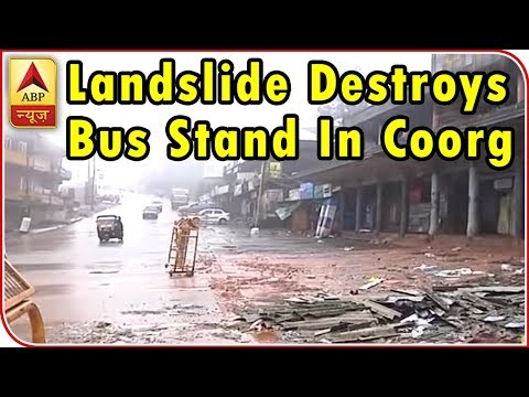 Karnataka: Landslide destroys bus stand in Coorg