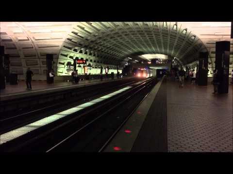 Washington Metrorail HD 60 FPS: Red Line Trains @ Metro Center Station 8/18/15