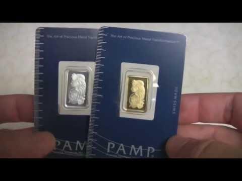 Pamp Silver and Gold Bullion Bar Size Comparison