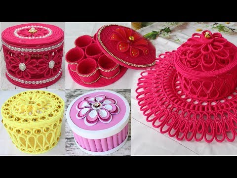5 Beautiful jewelry box with woolen & newspaper | Diy jewelry box