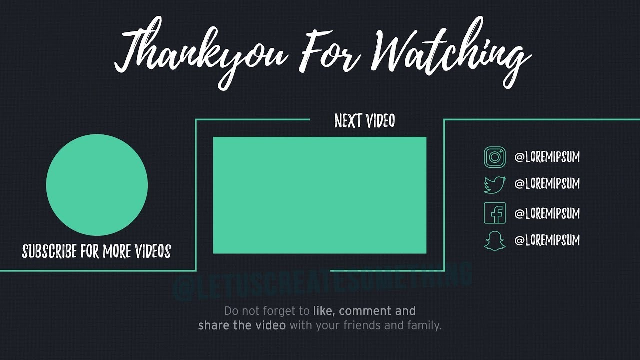 Best Youtube Outro End Screens Template 8 Letuscreatesomething