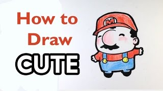 How to Draw Mario(Cute) - Mario Bros- Easy Pictures to Draw