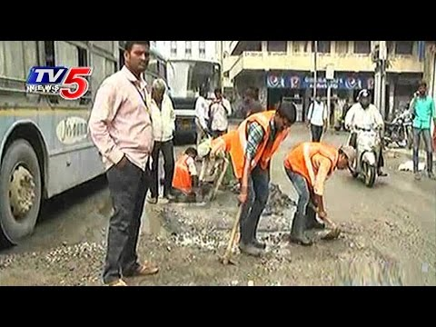 KTR Fire On GHMC Officers Over Negligence on Roads Repairs   Hyderabad   TV5 News
