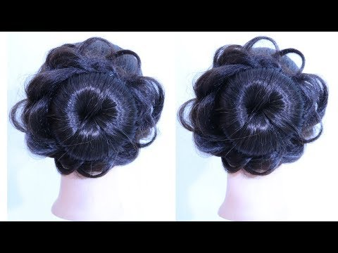 New Hairstyle With Using Bun Hairstyle For Gown And Lehnnga