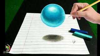 Floating Sphere - 3D Trick Art on Paper - Step by step with subtitles.