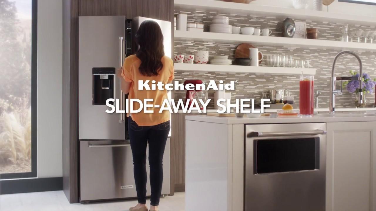 Kitchenaid cabinet depth refrigerator - Counter Depth French Door Refrigerator With Slide Away Shelf Kitchenaid