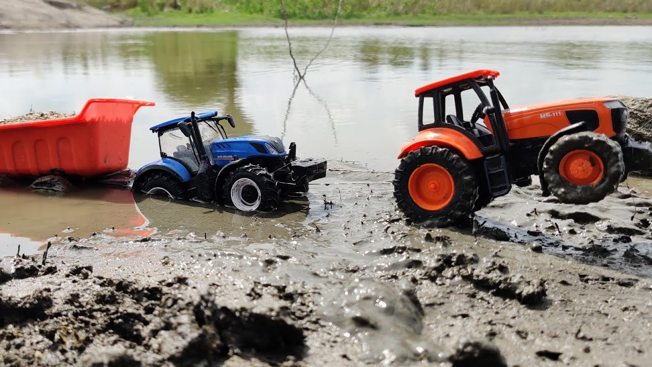 New Holland 4wd Tractor Fully Loaded Stuck Mud Rescue By Kubota 4wd Tractor Jcb Toy Videos Youtube