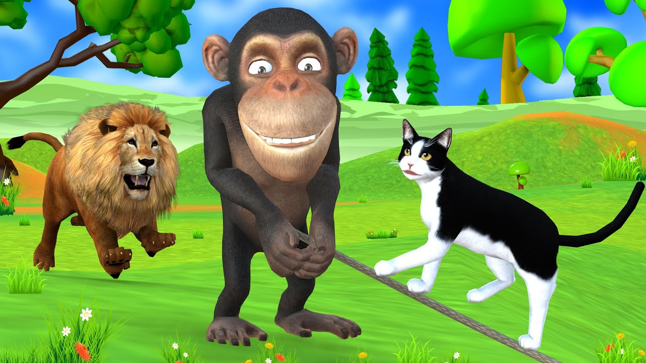 चतुर बिल्ली भूख शेर बाघ और बंदर दोस्ती नैतिक कहानी - Panchatantra Moral Stories- 3d Stories In Hindi