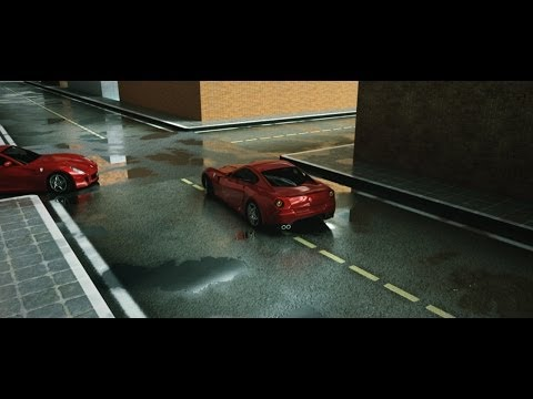 Photoreal wet asphalt with VRay