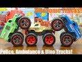 Children's TOY TRUCKS! Police Monster Truck, Dinosaur Transporter Truck and Monster Ambulance Truck!
