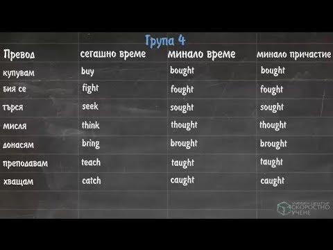 Група 4 Неправилни Глаголи. Онлайн Английски език. Самоучител по Английски език