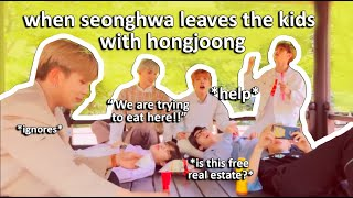 when seonghwa leaves the kids with hongjoong