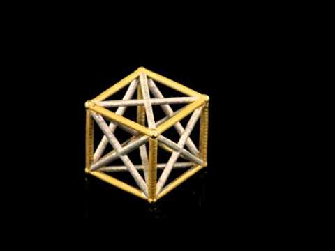 Kabbalah 3D Jewish Star Cube 18K Two Tone Gold Magen David
