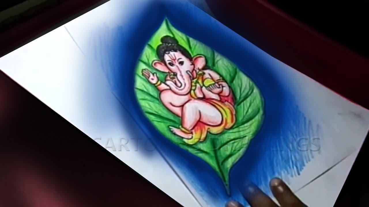 How To Draw Leaf Ganesha Drawing Ganesha Sketch Ganesh Chathurthi 2020 Special Ganapapati Art Youtube