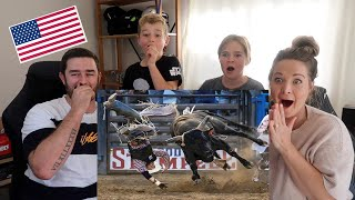 New Zealand Family Reacts to AMERICAN BULL RIDING WRECKS!!
