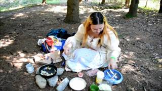 Camping Cookery: Scrambled Eggs With Bacon Onions And Wild Mushrooms