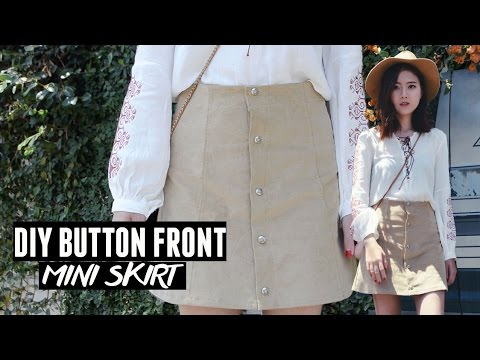 DIY Button Front A-line Corduroy Skirt/ Moto Skirt - YouTube
